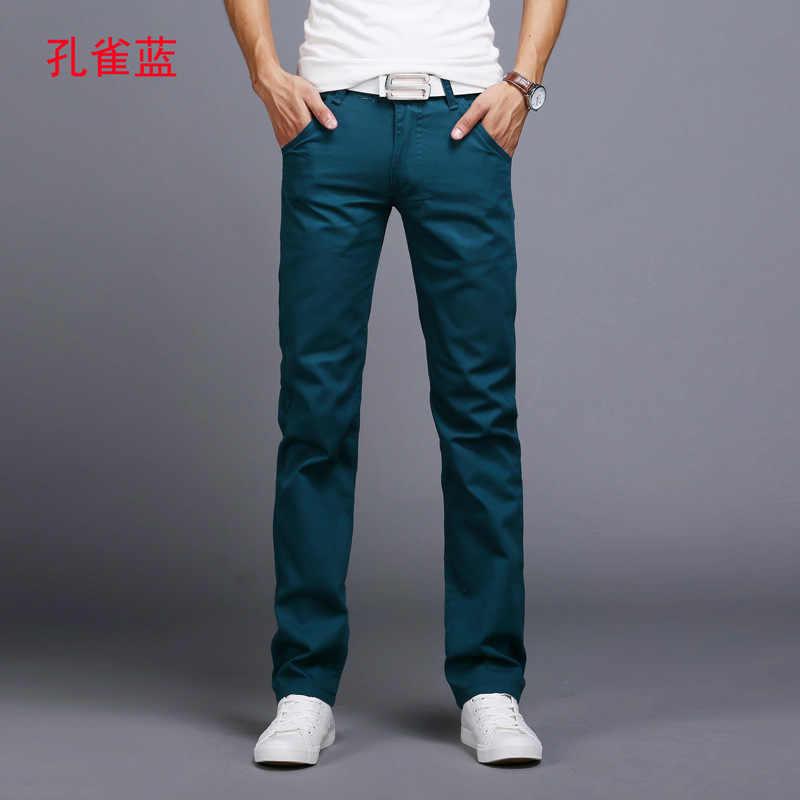 2020 Neue Design Casual Männer hosen Baumwolle Dünne Hose Gerade Hosen Mode Business Solide sky blau schwarz Hosen Männer 28 -38