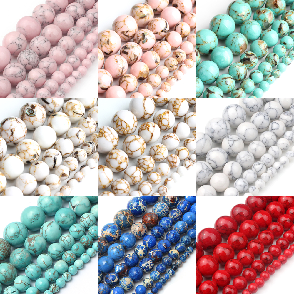 Natural Turquoises Howlite Stone Sediment Jaspers Round Loose DIY Beads for Jewelry Making Christmas Gift Bracelets 15'' 4-12mm