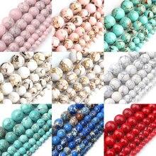 Jaspers de sédiments en pierre Turquoises Howlite naturelles rondes perles de bricolage en vrac pour la fabrication de bijoux Bracelets cadeaux de noël 15 ''4-12mm