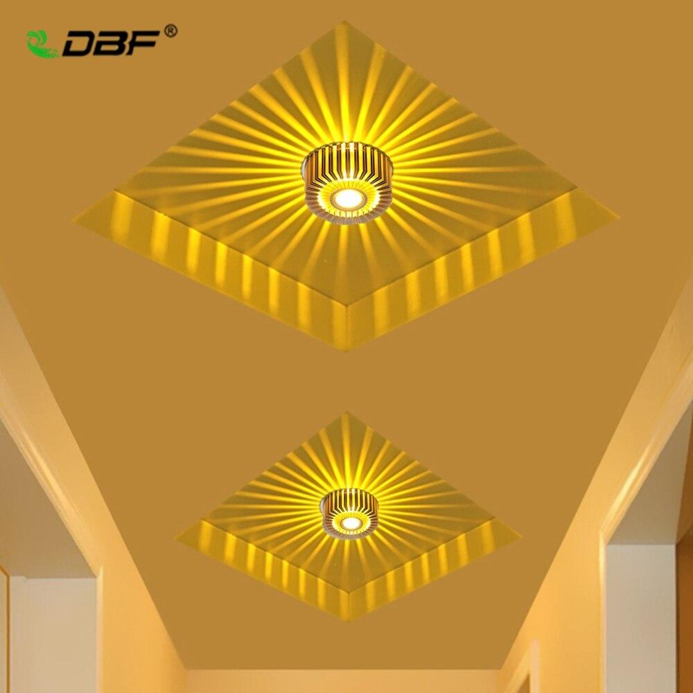 [DBF]Novelty Sunflower Aluminum 3W RGB LED Ceiling Light Surface Mount/Embeded LED Ceiling Light For KTV Bar Corridor Home Decor