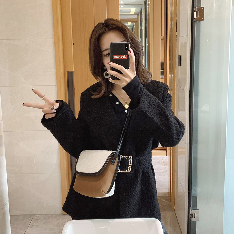 Winter New Style Small Bag Splicing Lamb Hair Small Bag Messenger Bag Single Shoulder Bag Style Small Bag Female Handbag