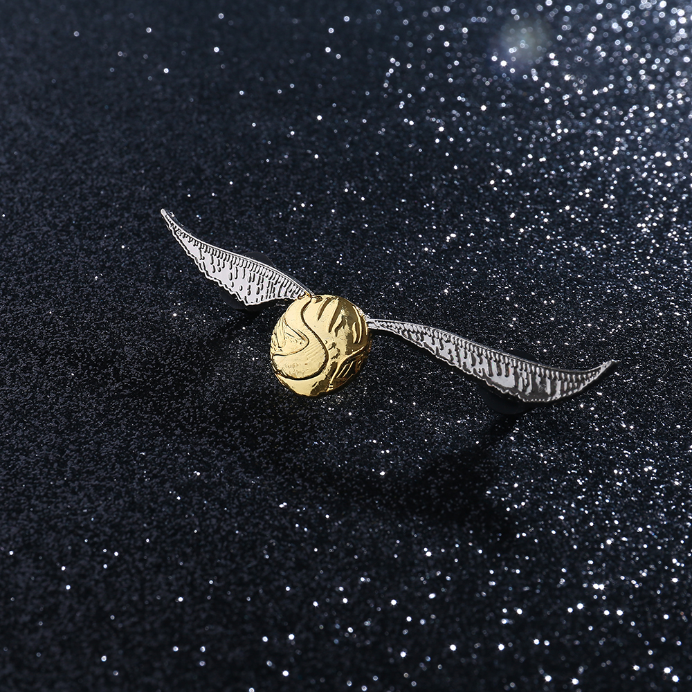 <font><b>DEATH</b></font> EATERS Golden Snitch Ball Metal Badge Pin Brooch with Wings The Deathly Hallows Costume Accessory Two Pins image