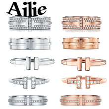 Ailey original high quality 100% 925 sterling silver double T ring rose gold classic Jane fashion lady jewelry couple gift