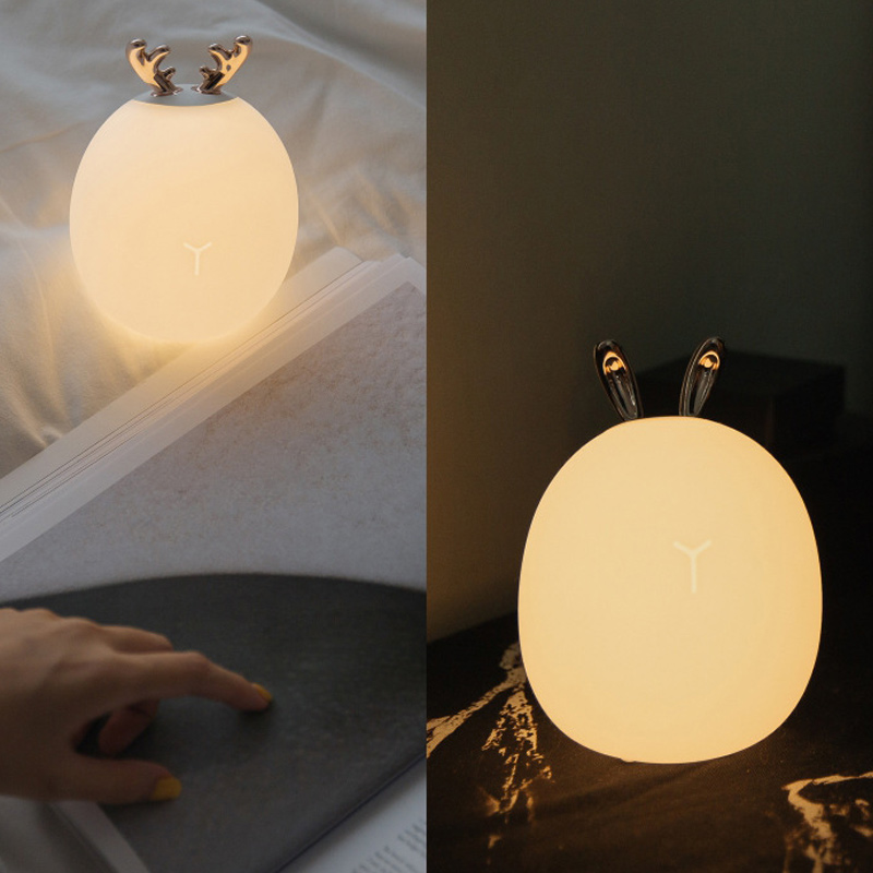 Deers Rabbit Silicone Night Light Touching Chargeable Christmas Atmospheres Lamp  J8 #3