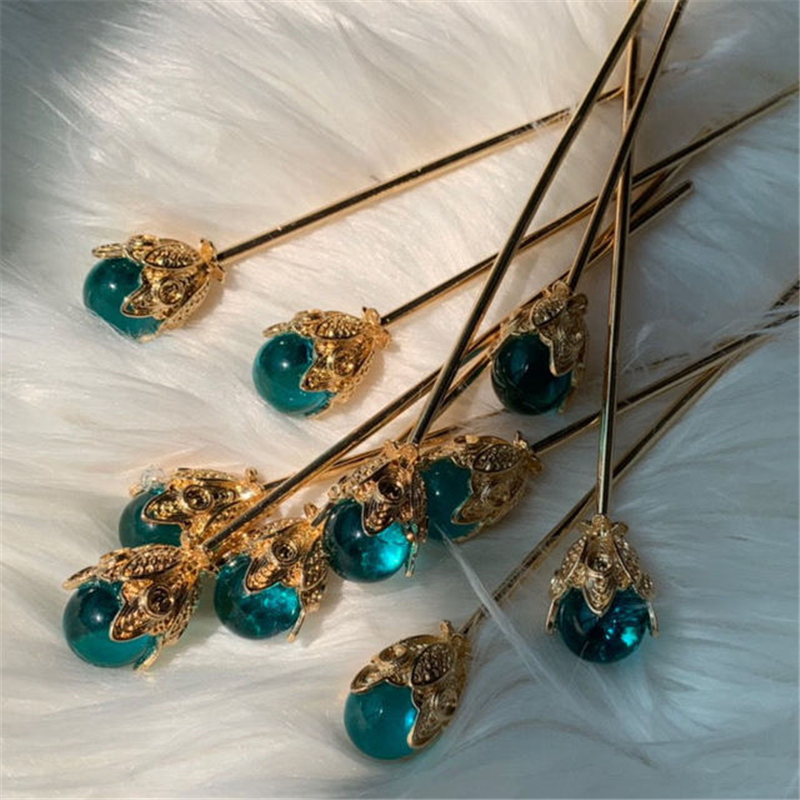 1Pcs Blue Hair Claw Direct Pearl Plate Hairpin Red White Bridal Headdress Hair Sticks Jewelry Ornaments Chinese Ancient Style 1