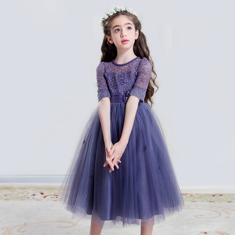 Beaded Flower Girl Dresses For Weddings Host Costume Communion Dresses Pageant Dresses For Girls Vestidos De Noches Para Ninas