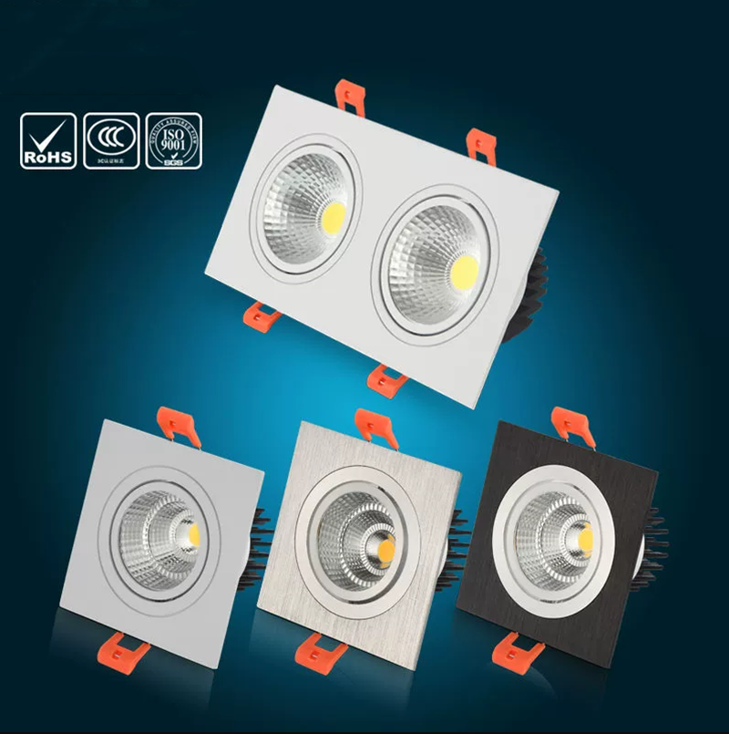 Square Bright Recessed Double LED Dimmable Square Downlight COB 10W 20W LED Spot Light Decoration Ceiling Lamp AC 85- 265V