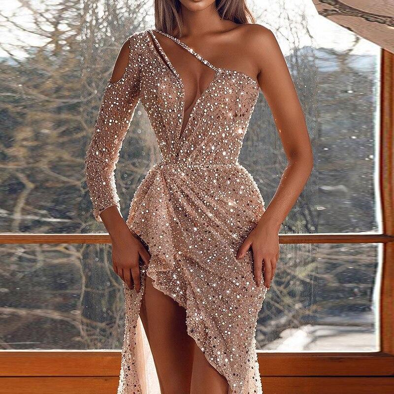 Robe de soirée Sexy asymétrique épaule dénudée à paillettes