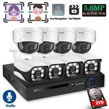 Камера видеонаблюдения, 8 каналов, 5 МП, беспроводная, NVR, POE, 8 шт., антивандальная и купольная, IP, IR CUT P2P, с функцией записи лица