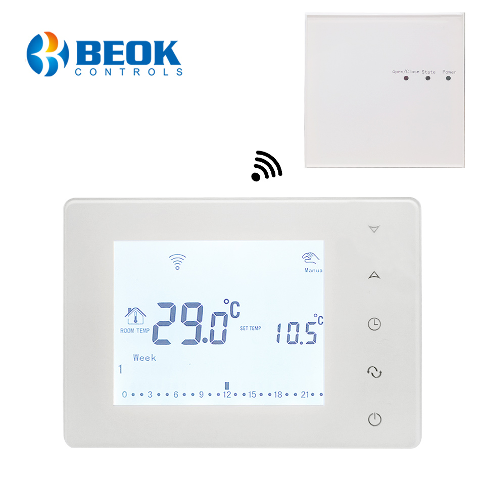 Beok Wireless Thermostat Touch Screen Programmable Temperature Controller For Room Heating With Gas Boiler And Actuator