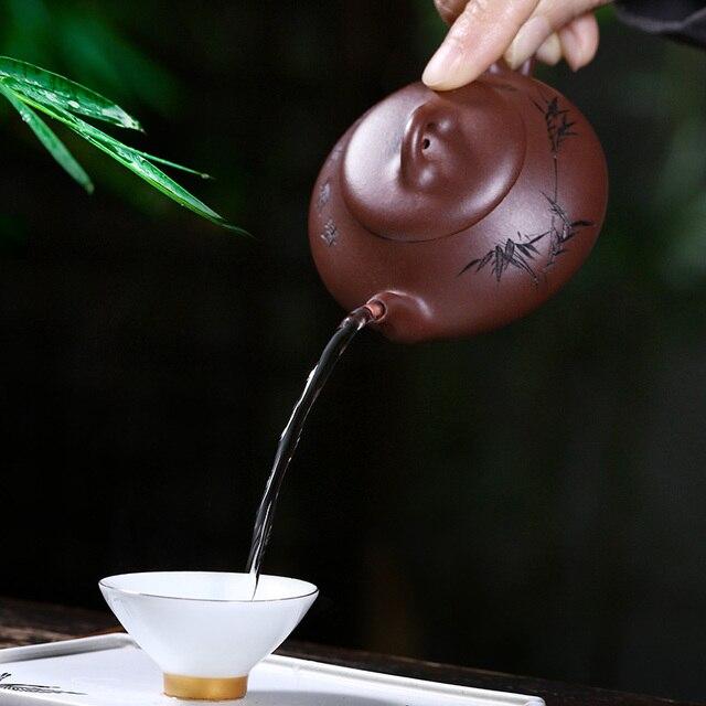 Pot en argile violet peint à la main | Mini Han Tang, petite louche en pierre, assistant national Zhu qianbing