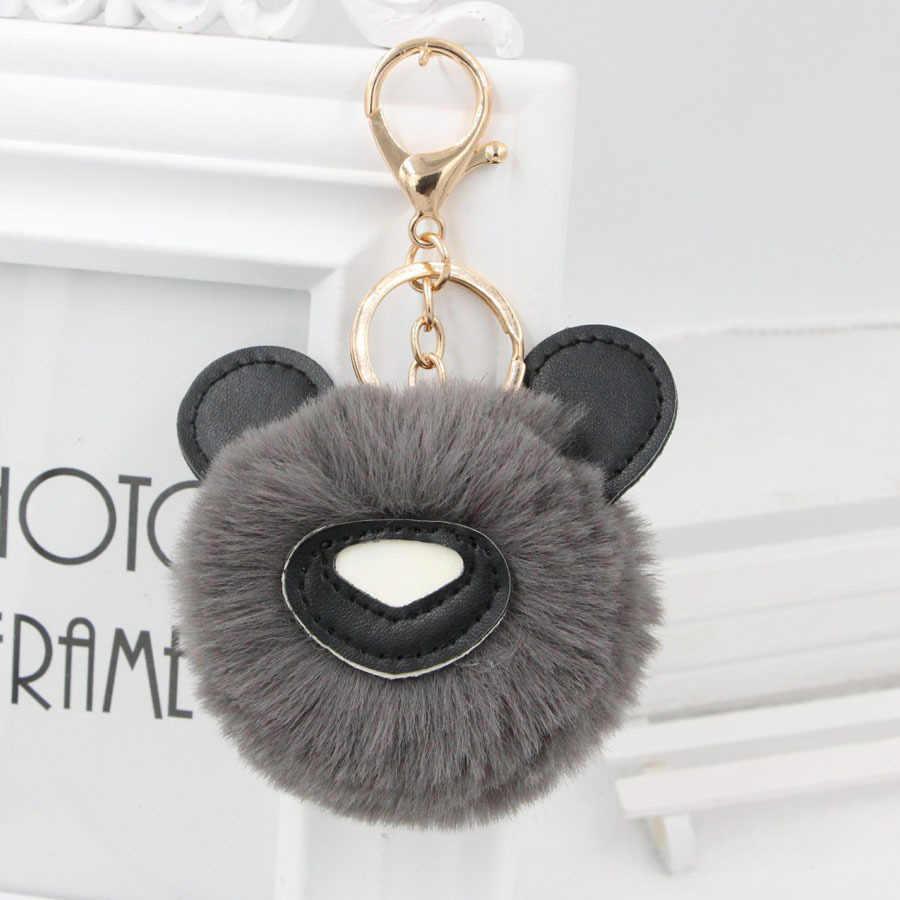 8cm Rex Pele De Coelho Bonito Panda Fofo Chaveiro Chave Pingente Anel Keychain para As Chaves Do Carro Das Mulheres Bola De Pêlo trinket presente para Namorada
