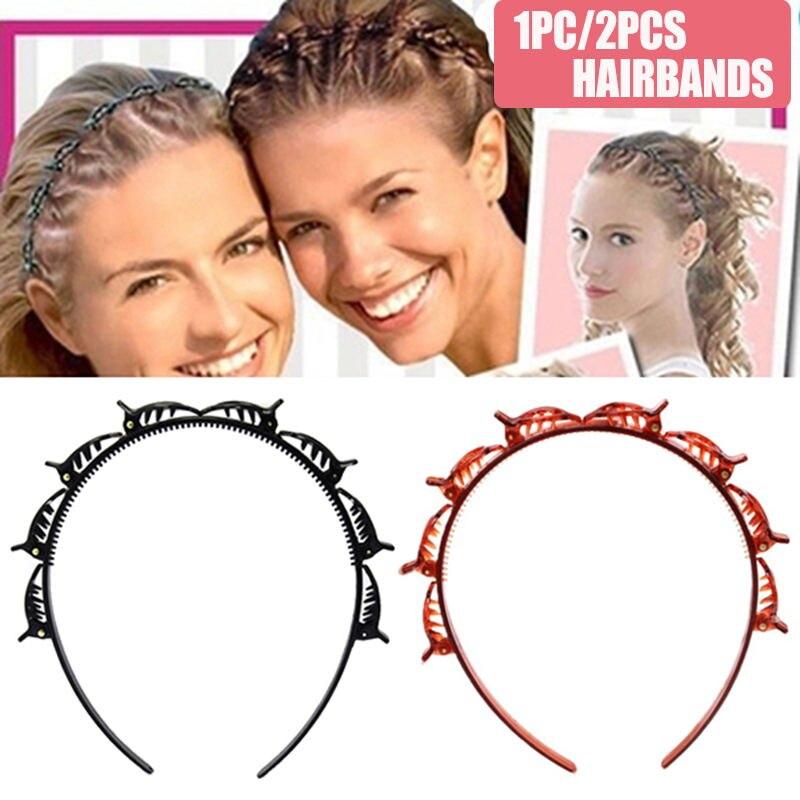 Новый двойной челка прическа Шпилька Мода двойной Слои челка клип головная повязка, повязки для волос, парикмахерские заколка для волос, ак...