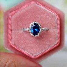 فاخر أنثى كريستال الأزرق خاتم مرصع بحجر بيضاوي الشكل 925 فضي اللون الزفاف البنصر وعد سوليتير خواتم الخطبة للنساء