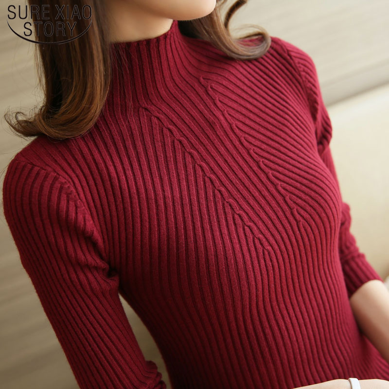 2019 Winter Long Sleeve Turtleneck Pullovers Fashion Womens Sweaters Solid White And Black Tops Sweaters Femme Clothing 5218 50