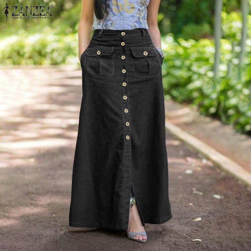 Kobiety Retro spódnice ZANZEA 2021 lato Denim niebieska długa spódnica Casual solidna podział dna Lady A-line przycisk Up spódnica Oversize 5XL