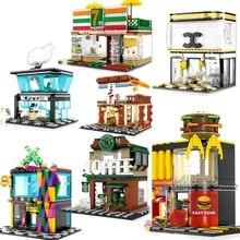 City Block Mini Street View Series Creator Fast Food Shop Market Friends Streetscape Sets Building Bricks Architecture Friends