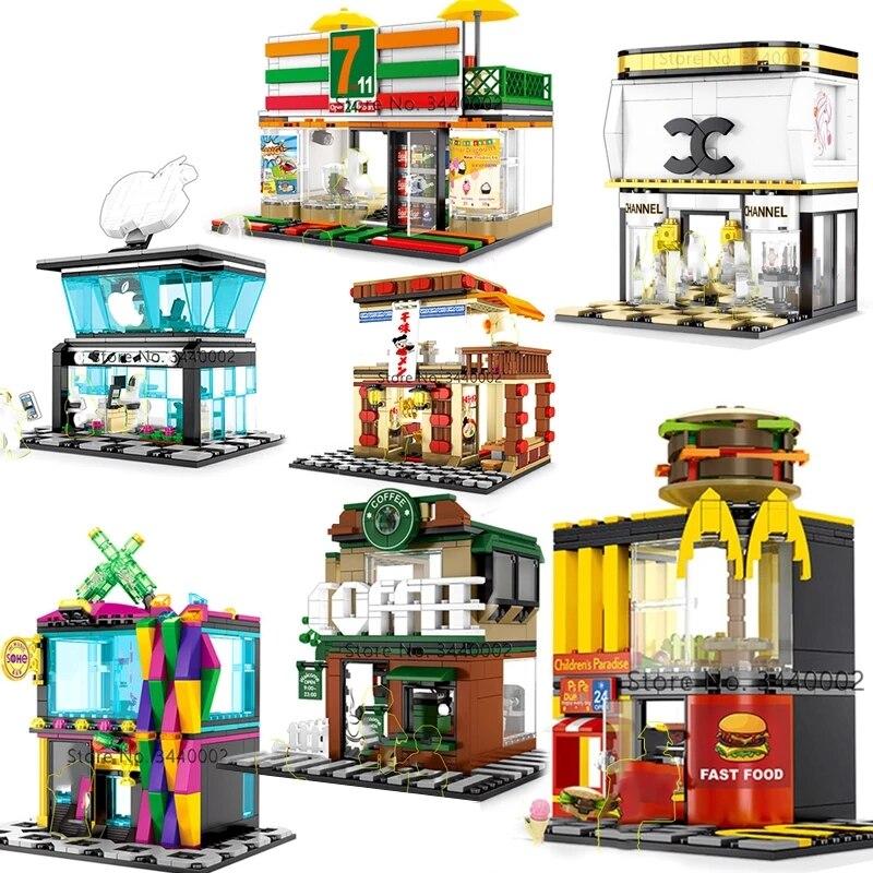 Городской квартал, мини-Вид из окна серии Creator быстро Еда магазин Рынок друзей городского пейзажа комплекты Строительные кирпичи Архитектура друзей