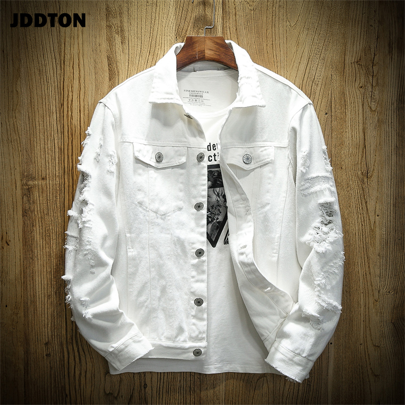 JDDTON Men's Autumn Denim Trendy Jackets Casual Hip Hop Fashion Vintage Ripped Overcoats Streetwear Cowboy Jeans Outerwear JE385