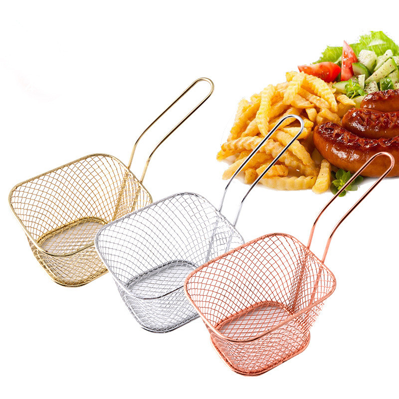 Mini Fry Baskets Silver Rose Gold Stainless Steel Strainer With Handle French Fries Basket Colander Home Kitchen Cooking Tool