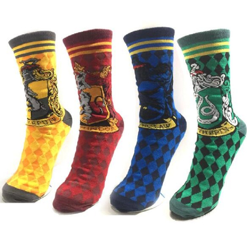 Movie Harri Potter Socks Short Plush Figure Toys Cartoon Mario College Badge Cotton Sock Adults Women Men Holiday Gift