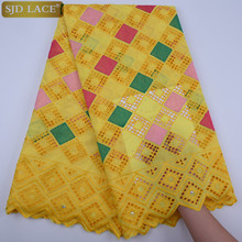 SJD LACE High Quality African Fabric Checkered Swiss Voile Lace Fabric 100% Cotton Nigerian Fabric For Women Wedding A1754