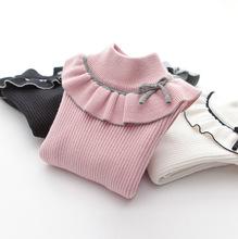 2020 moda wiosna dziewczyny swetry Turtlrneck dziewczyny sweter 2-12 lat dzieci odzież swetry tanie tanio COTTON Poliester Na co dzień Stałe REGULAR Golfem 8092 Pełna NONE Pasuje prawda na wymiar weź swój normalny rozmiar