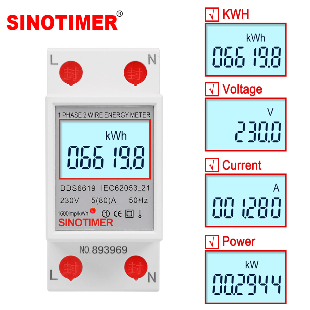 230V 5(80)A Single Phase Digital Wattmeter LCD Backlight Multimeter Voltage Current Power Meter KWh Energy Meter DIN Rail Mount