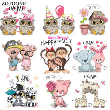 ZOTOONE Cute Animal Owl Bear Patch Iron on Transfers for Clothing Applications DIY T-shirt Heat Appliques Sticker E