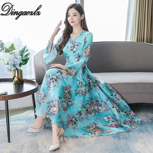 Dingaozlz Vestidos Plus size Women dress Autumn 2019 New Flare Sleeve V-neck Long Chiffon Dress Elegant Floral Printed Dress plus trumpet sleeve flare floral dress