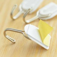 6PCS Self Adhesive Wall Door Hook Hanger Bag Keys Bathroom Kitchen Sticky Holder Plastic + Stainless steel