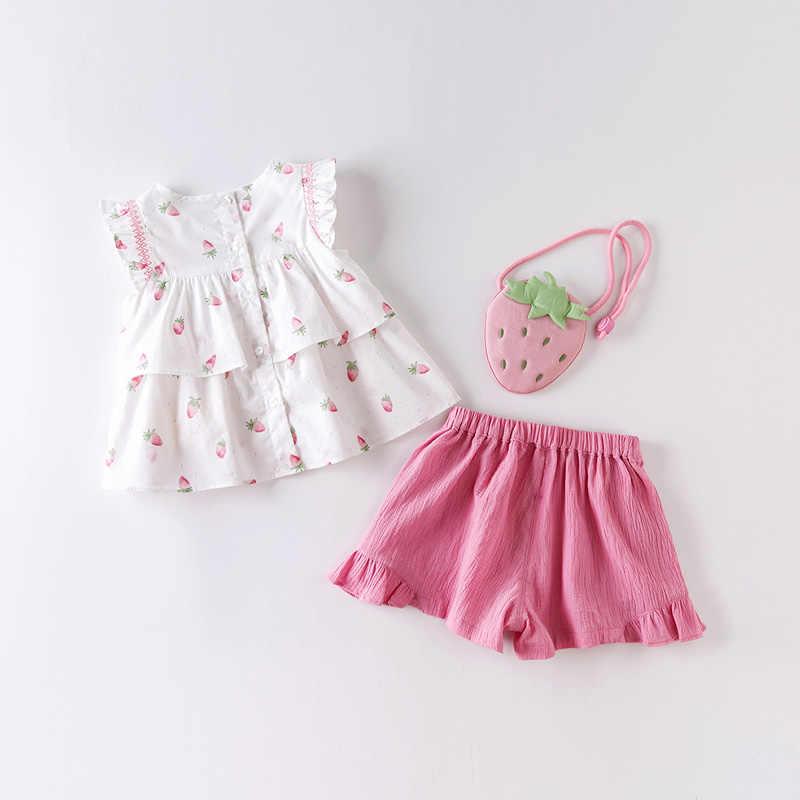 DBM14178 DAVE Bella ฤดูร้อนเด็กแฟชั่นผลไม้พิมพ์ ruched ชุดเสื้อผ้าเด็กน่ารักชุดเด็กเล็กกระเป๋า 3 ชิ้นชุด
