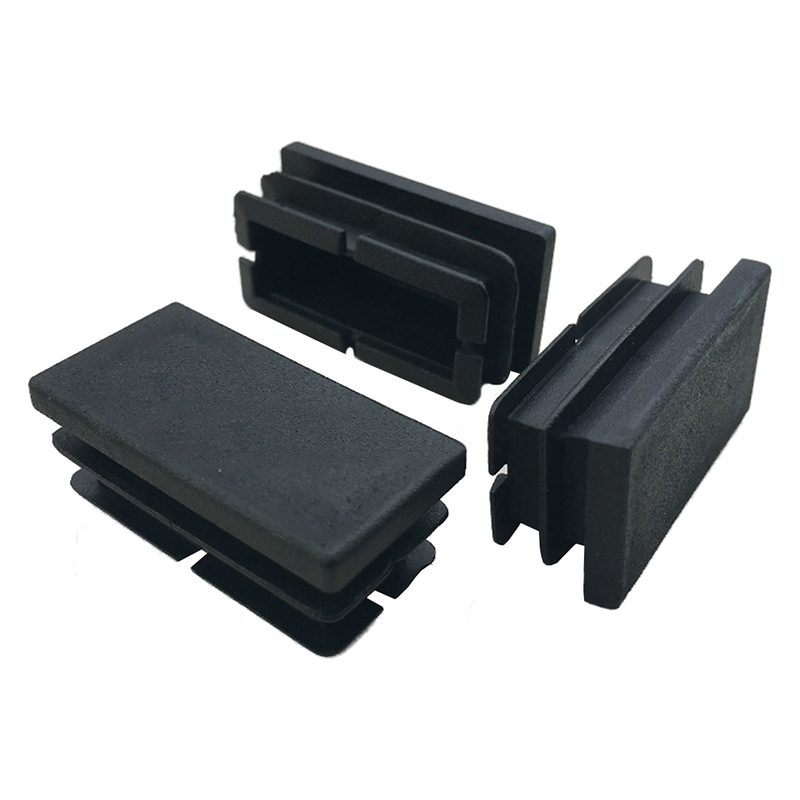 HOT-8 Pcs Black Plastic Rectangular Blanking End Caps Inserts 20mm X 40mm