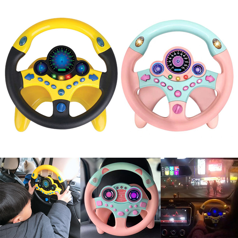 Toy Car Copilots Simulated Steering Toys Interactive Steering Wheel Light Baby Musical Electronic Vocal Toys For Birthday Gift