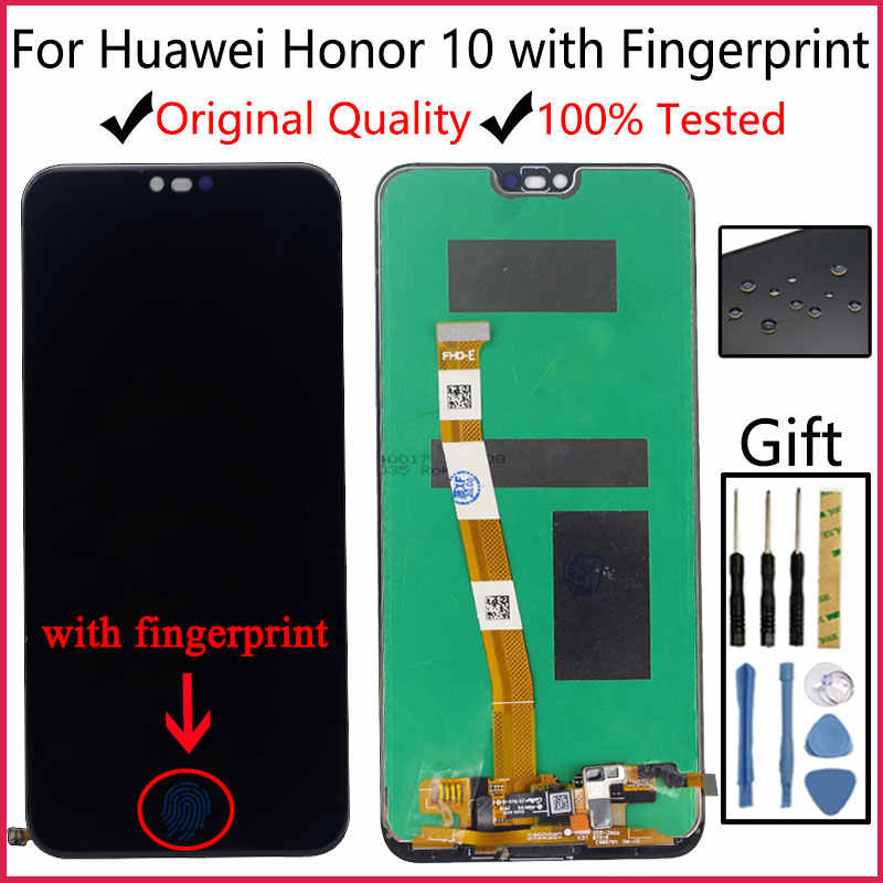 ลายนิ้วมือ 5.84 ''LCDต้นฉบับสำหรับHUAWEI Honor 10 จอแสดงผลLCD Touch Screen DigitizerสำหรับHuawei Honor10 COL-L29 COL-AL10