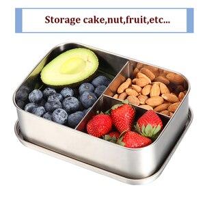 Image 5 - נירוסטה הצהריים תיבה עם 3 תאים מפעל מזון מיכל בנטו תיבת פירות עוגת חטיף אחסון תיבה