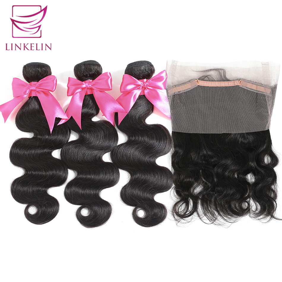LINKELIN Brazilian Body Wave Hair Bundles With 360 Lace Frontal Closure Natural Color Remy Hair 3 Bundles With Closure
