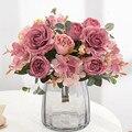 Красивые Гортензия розы искусственные цветы для украшения для дома и свадьбы, высокое качество, для осени букет мусс пион искусственный цве...