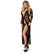 Comeondear 5XL Plus Size Lace Night Jurk Voor Sex Lange Mouw Gewaad Femme Dentelle Vrouw See Through Black Night Gown RB80232