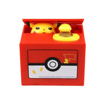 Nowy śliczny Pokemon Auto kraść monety skarbonka elektroniczny plastikowy pieniądze sejf skarbonka skarbonka dla dzieci prezent urodzinowy tanie i dobre opinie