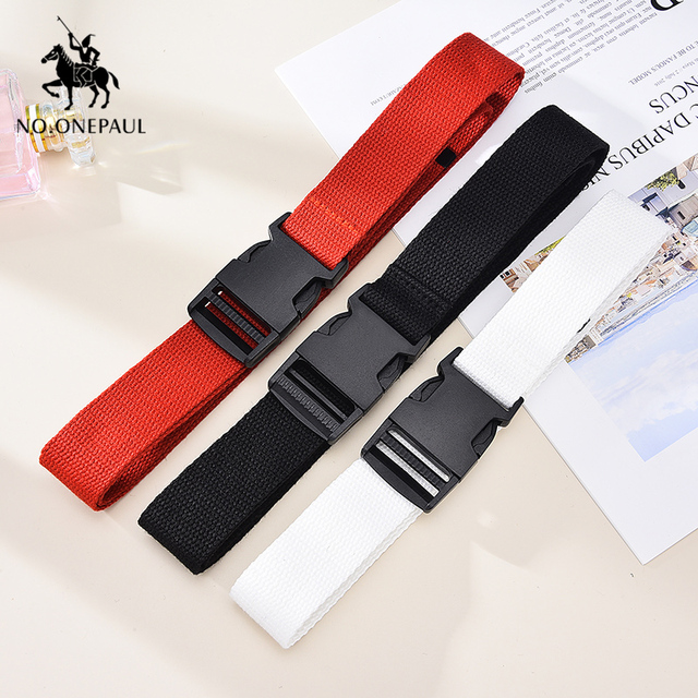 Comfortable solid color cloth with brand luxury buckle new casual outdoor tactical belt 4