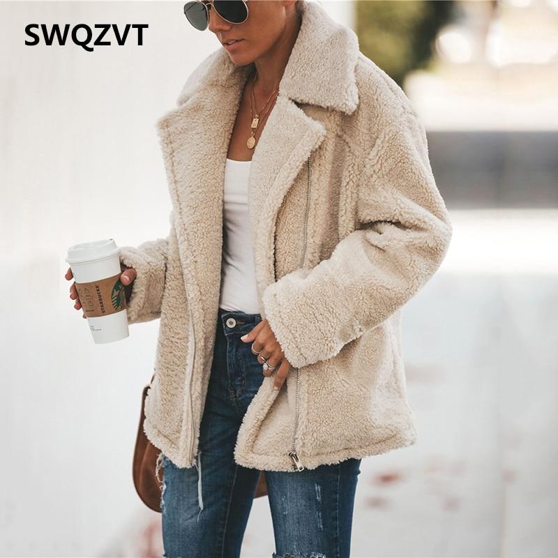 Thick Women's Jacket Coat Winter Fashion Zipper Pocket Loose Ladies Female Coat 2019 New Warm with Fur Women Jackets Outwear