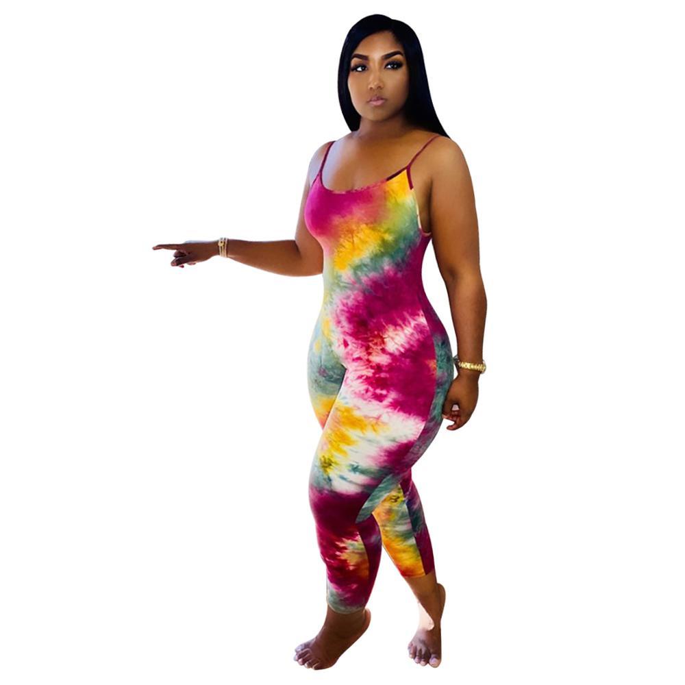 Tie Dye Print Bodycon Jumpsuit Women Summer 2020 Sexy Sportswear Fitness Sleeveless Leggings Rompers Womens Jumpsuit Club Outfit