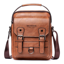 "Retro Men Shoulder Bags for 10.5"" Ipad Men Bag PU Leather Business Man Messenger Crossbody Bags  Male Handbags Travel Zipper"