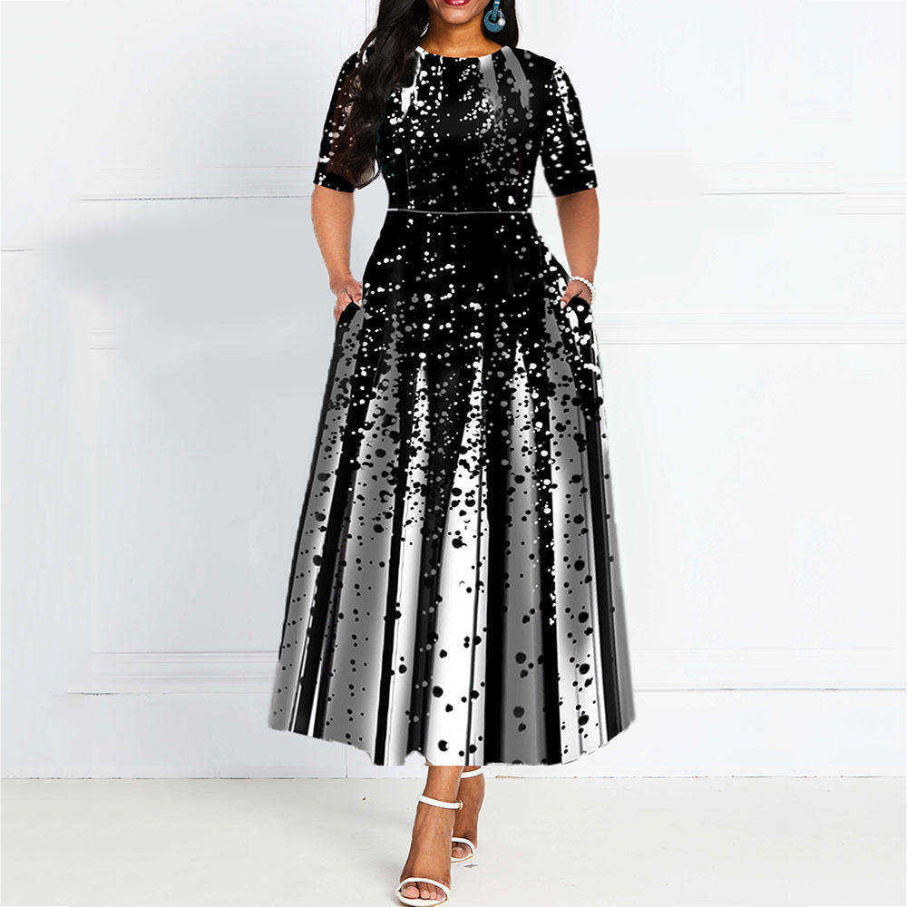 Women Dress Evening-Party-Dress Robe-De-Soiree Half-Sleeve Elegant African Draped A-Line