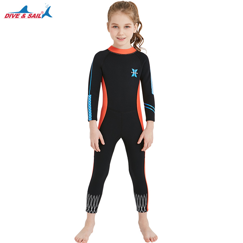 Girls Warm Diving Suit 2.55MM Neoprene Thick Wetsuit For Children One Piece Jellyfish Swimsuit