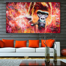Graffiti Monkey Gorilla Smoking Painting Street Art Oil Painting Canvas Prints Modern Pop Poster Picture On The Wall Unframeless(China)