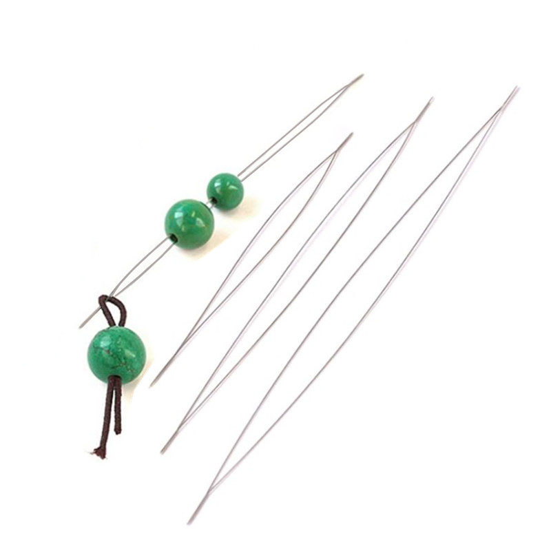 5Pcs/Lot Stainless Steel Big Eye Beading Needles Easy Thread String Cord Pins For DIY Jewellry Making Tools(China)