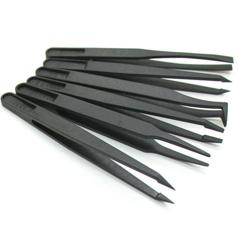8pcs Anti-static Carbon Fiber  Electronic Tweezers Kit ESD Plastic Forceps PCB Repair Hand Tools Set