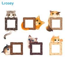 6PCS Cat 3d wall sticker Light Switch Cover lovely kids room decoration Cartoon DIY home accessories PVC decor